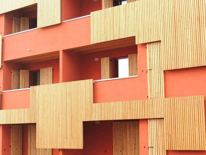 72 Sozialwohnungen aus Holz (Fassadenansicht)