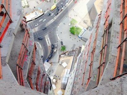 Blick aus 33. Etage nach unten