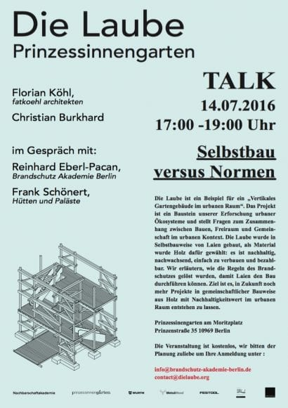 """Vertikales Gartengebäude im urbanen Raum"" | TALK am 14.07.2016 im Prinzessinengarten Berlin-Kreuzberg"