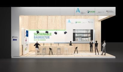 Gemeinschaftsstand der Bundesarchitektenkammer, der Architektenkammern der Länder, der Bundesstiftung Baukultur und anderen auf der ExpoReal 2016 (Foto: © Heller Designstudio, Stuttgart)