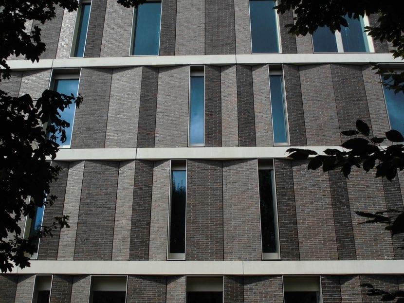 Durch die schräg gestellten Fassadenelemente soll eine optimale Belichtung der Mitarbeiterbüros und Konferenzräume gewährleistet werden (Foto: Espendiller und Gnegel)