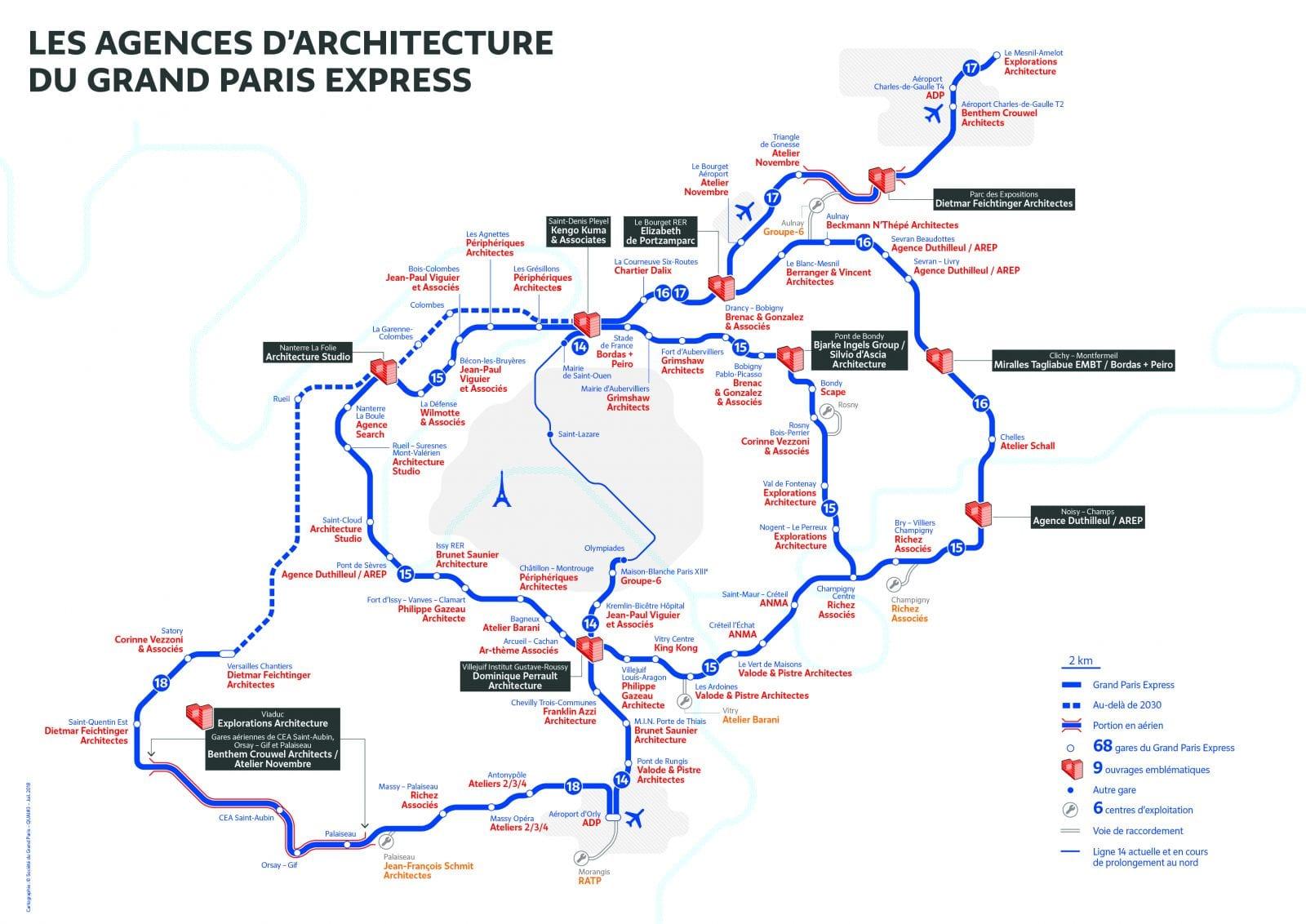 Grand Paris Express: Übersicht mit ausgewählten Architekturprojekten und Architekturbüros, Stand Sommer 2018 (Grafik: Société du Grand Paris)