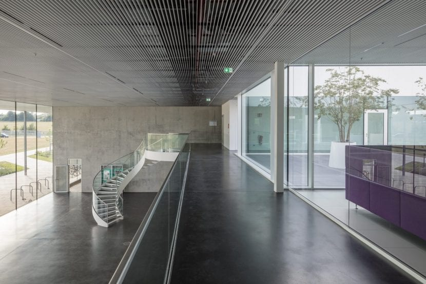 Büros im Obergeschoss, davor die Galerie über dem Foyer (Foto: Till Schuster)