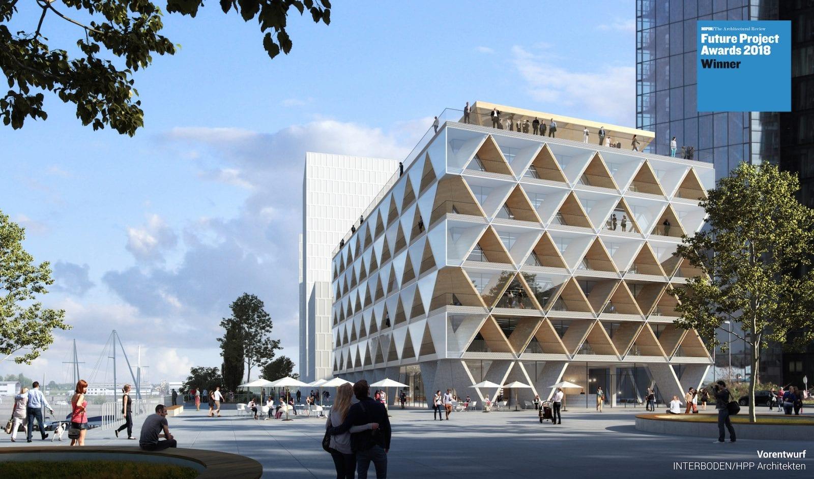 Bürogebäude in Holzhybridbauweise im Medienhafen Düsseldorf (Bild: INTERBODEN / HPP Architekten)