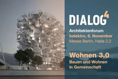 "Architektenforum ""DH4 - DIALOG HOCH 4"" im Rahmen der Fachmesse belektro (Abbildung: Messe Berlin / german-architects)"