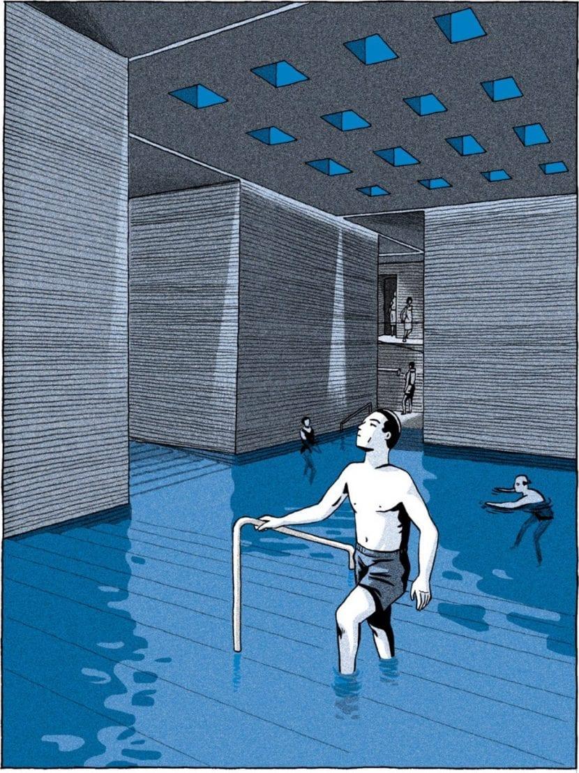 """Therme Vals (Abbildung aus """"Der Magnet"""" von Lucas Harari, Edition Moderne)"""