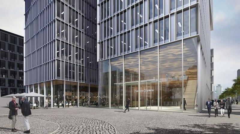 Eingangsbereich des FAZ-Neubaus an der Europa-Allee (Grafik: Eike Becker Architekten)