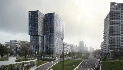 Frontalansicht des FAZ-Neubaus an der Europa-Allee (Grafik: Eike Becker Architekten)
