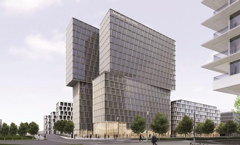 Seitliche Ansicht des FAZ-Neubaus an der Europa-Allee (Grafik: Eike Becker Architekten)