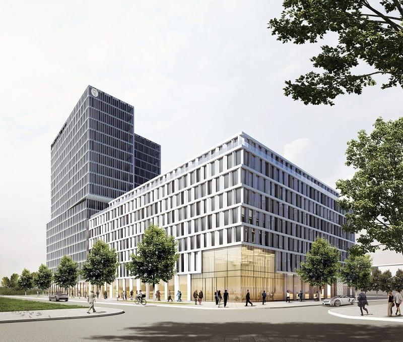 Blick auf den Hotel-Neubau an der Europa-Allee (Grafik: Eike Becker Architekten)