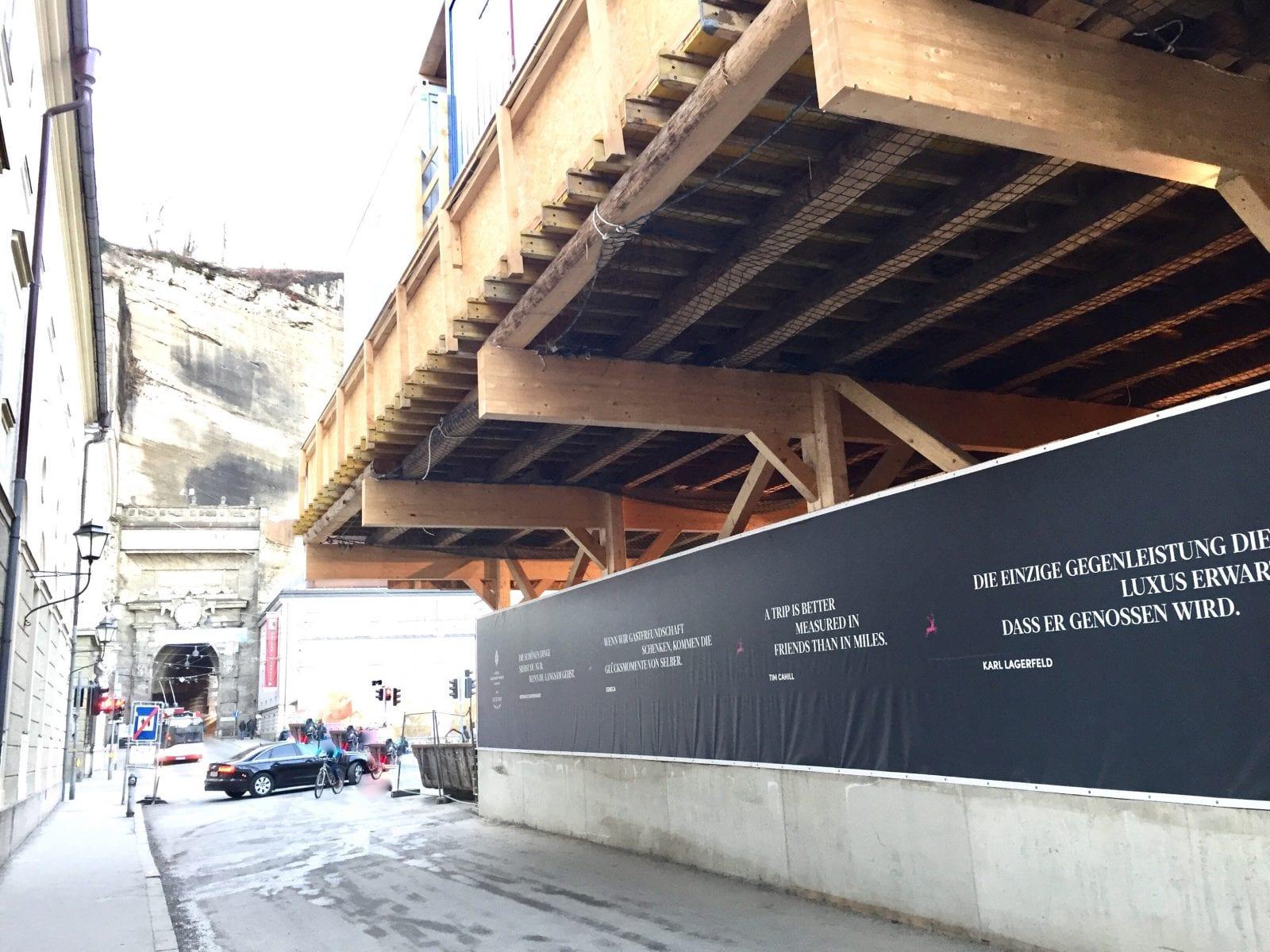 Baustelleneinrichtung auf einer Holzbaukonstruktion in Salzburg (Foto: Eric Sturm)