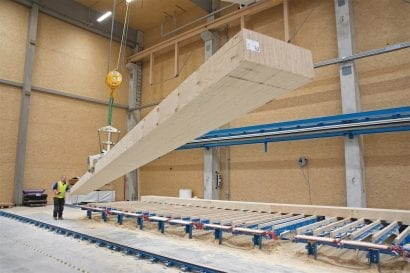 Furnierschichtholz STEICO G LVL: Abbund Deckenelement (Foto: STEICO)