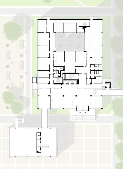 Grundriss Erdgeschoss – Umbau Bornemann-Hochhaus zum Jobcenter Berlin-Mitte (Rüthnick Architekten Ingenieure)