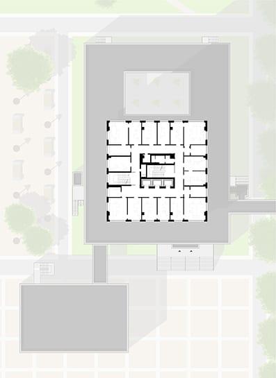 Grundriss Normalgeschoss – Umbau Bornemann-Hochhaus zum Jobcenter Berlin-Mitte (Rüthnick Architekten Ingenieure)