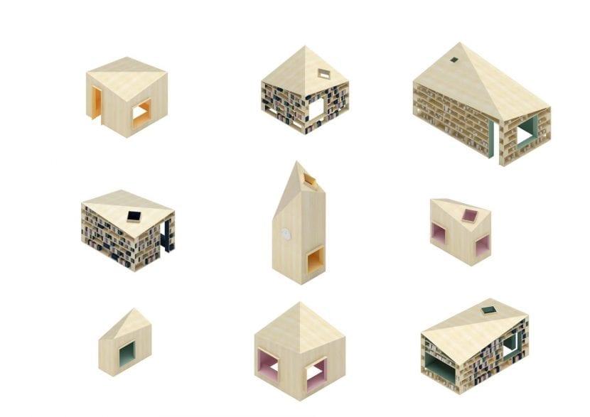 """Axonometrien der """"Häuser"""", Gesamschule Rheda-Wiedenbrück (Grafik: Sigurd Larsen Design & Architecture)"""