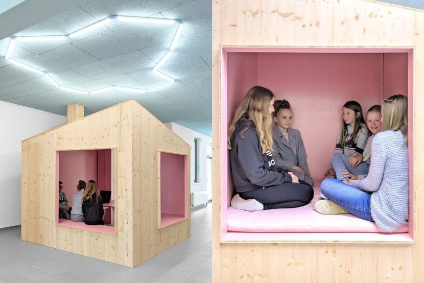 """Multifunktionale Einbauten in der """"Schulstraße"""", Gesamschule Rheda-Wiedenbrück (Foto: Sigurd Larsen Design & Architecture)"""