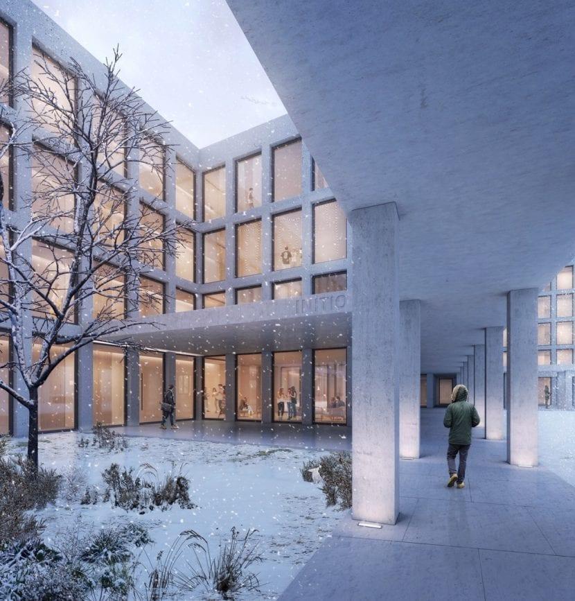Ein Innenhof im Winter (Visualisierung: blauraum Architekten)
