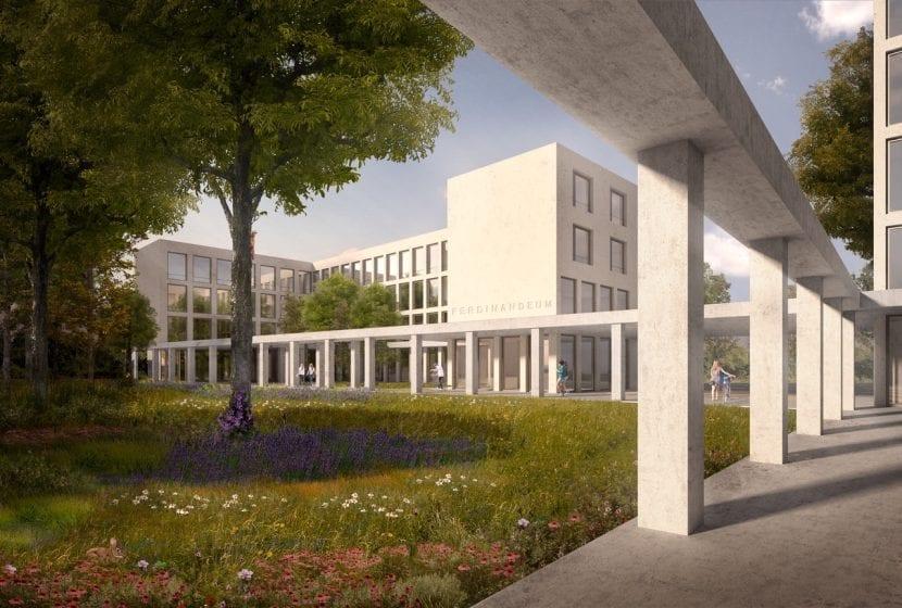Blick in einen begrünten Innenhof (Visualisierung: blauraum Architekten)