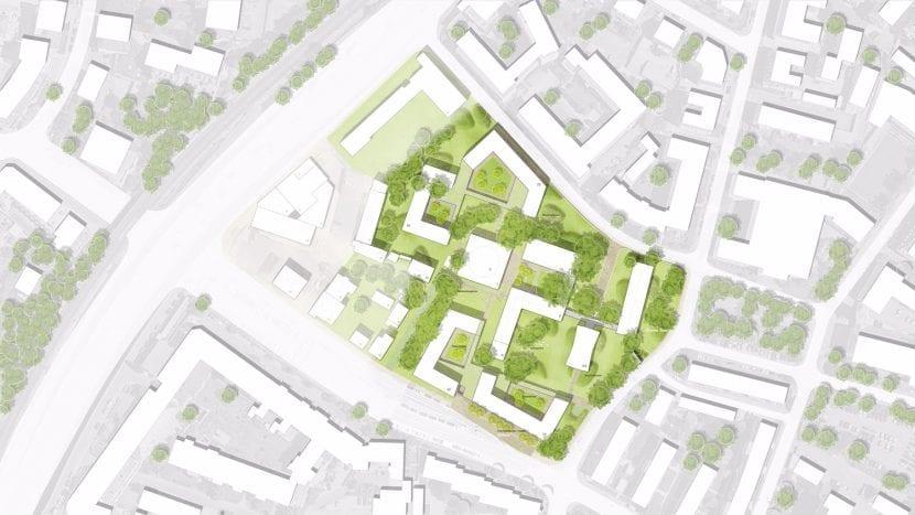 Lageplan des Wettbewerbsgebietes (Grafik: blauraum Architekten)