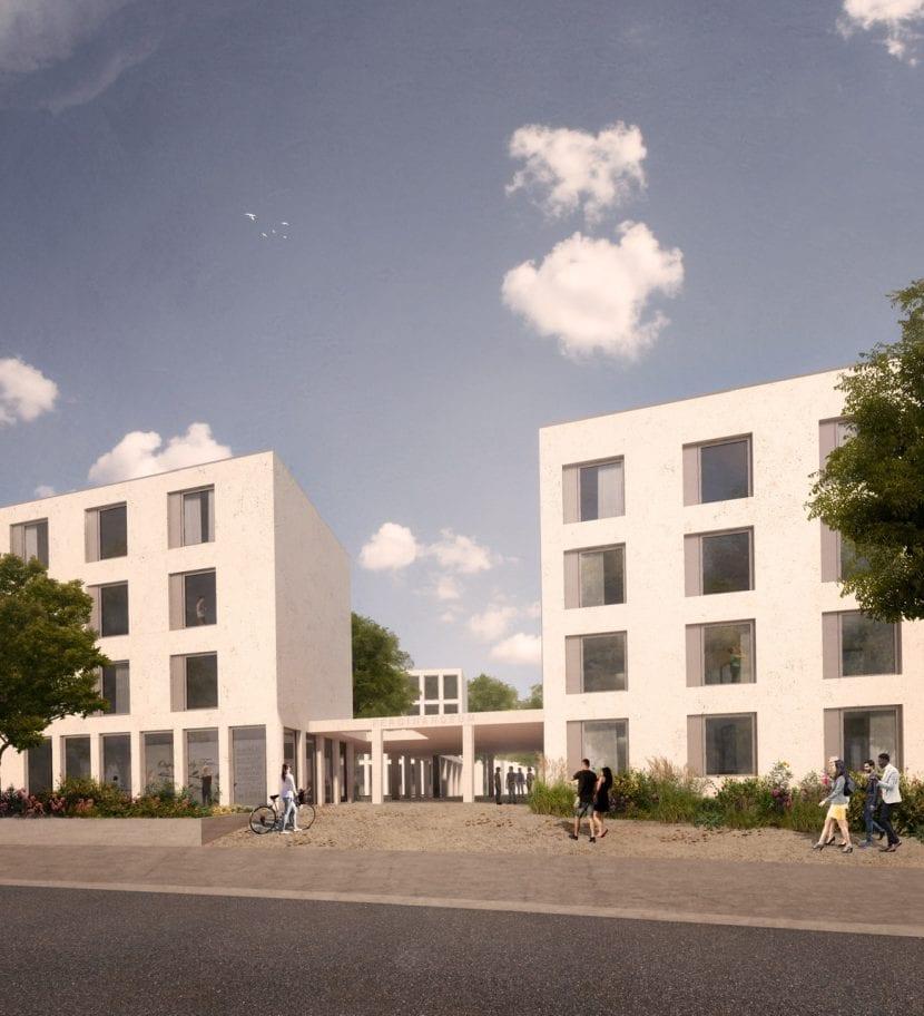 Ansicht der Wohnheim-Erweiterung von der Straße aus (Visualisierung: blauraum Architekten)