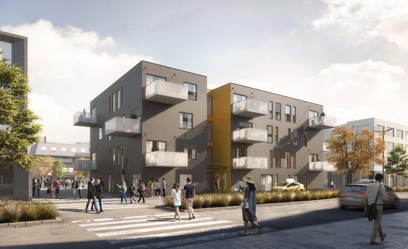 """Modulbau-Wohnhaus: Beitrag von ALHO und KZA beim GdW-Wettbewerb """"Serieller und modularere Wohnungsbau"""" 2018 (Grafik: Koschany + Zimmer Architekten KZA)"""