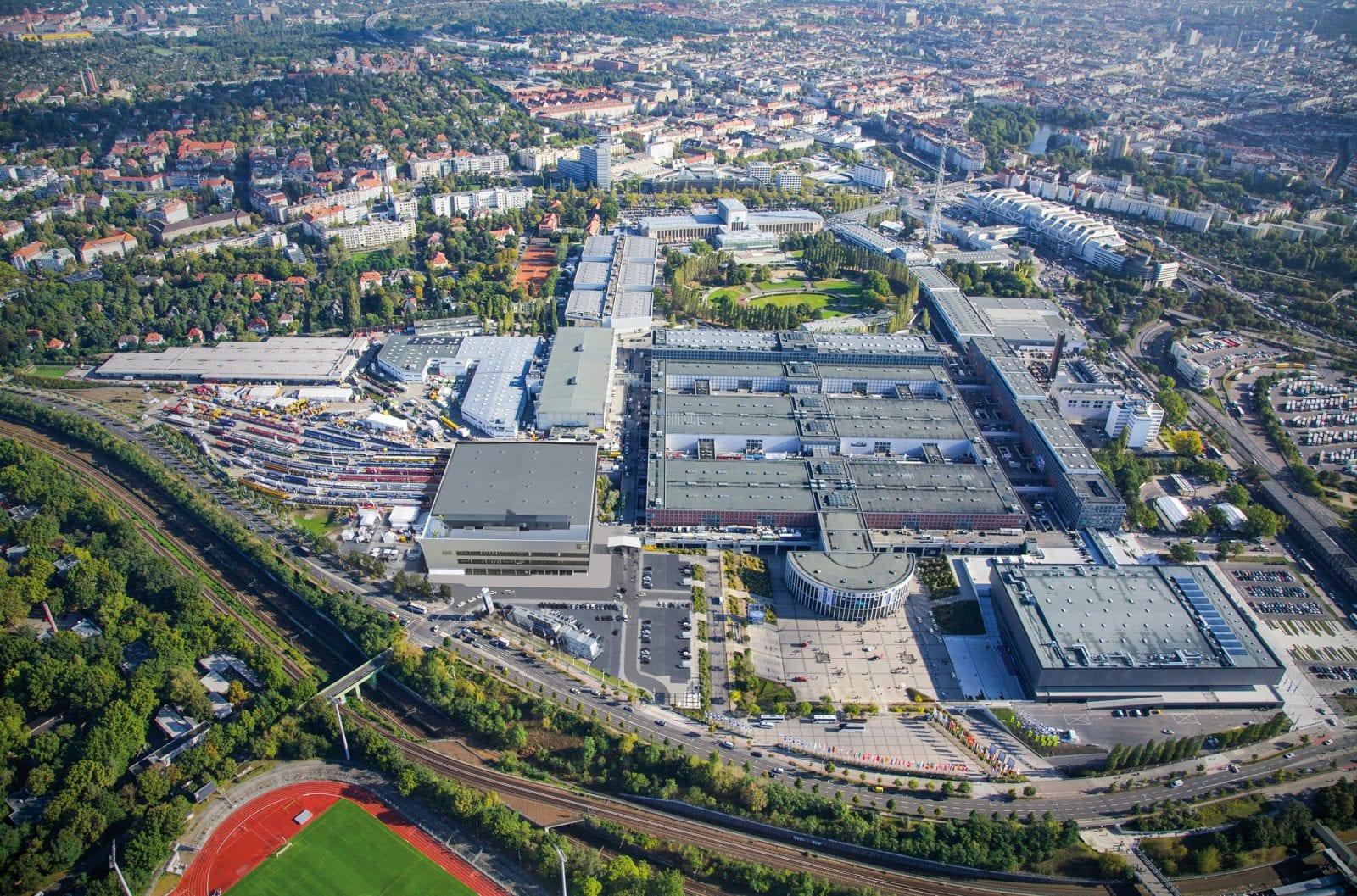 Luftbild des Berliner Messegeländes, hier fand von 1981 bis 2020 die Baufachmesse bautec statt (Foto: Messe Berlin GmbH)