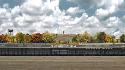 Tempelhofer Wald auf dem Dach des ehemaligen Flughafen Tempelhof in Berlin (Collage: @MicaMoca)
