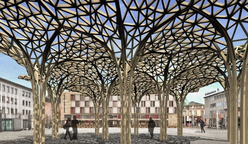 Die an der TU Kaiserslautern entwickelten 5G-Sendemasten aus Holz sollen auch weitere Smart City-Funktionen integrieren können (Visualisierung: TU Kaiserslautern / Digital Timber Construction DTC)