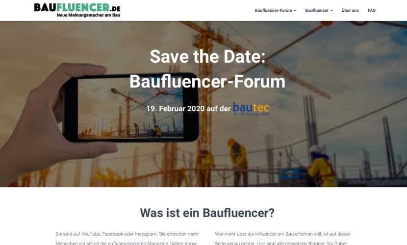 """Auf baufluencer.de können sich Bauindustrie-Vertreter und Influencer für das """"Baufluencer-Forum"""" im Februar 2020 anmelden (Screenshot, September 2019)"""