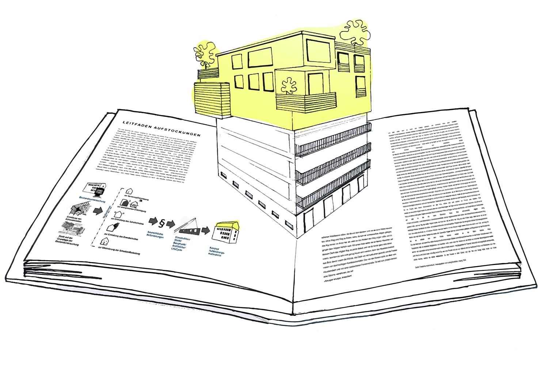 Entwicklung eines Leitfadens für Aufstockungs- und Erweiterungsmaßnahmen zur Nachverdichtung innerstädtischer Bereiche (Grafik: Institut für Baukonstruktion und Holzbau/TU Braunschweig)