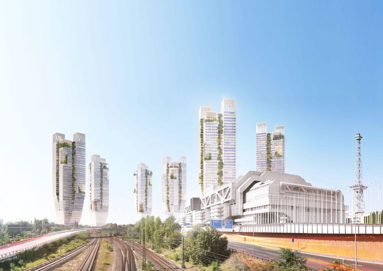 Entwurf für neun Hochhaus-Türme am S-Bahnhof Berlin-Westkreuz (Visualisierung: Copyright LANGHOF® Studio für Architektur)
