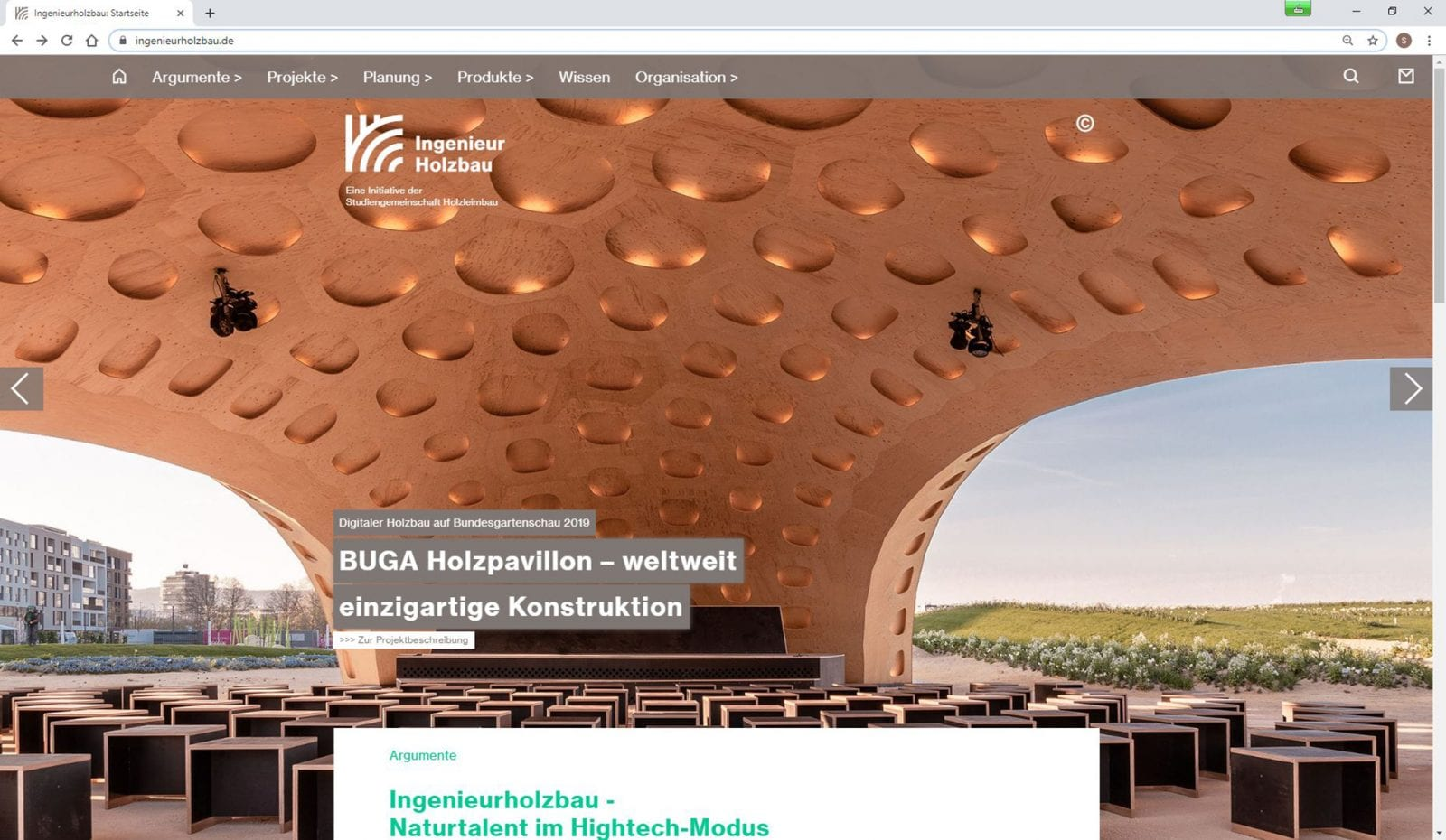 Screenshot: BUGA-Holzpavillon auf ingenieurholzbau.de (Foto: ICD / ITKE / Universität Stuttgart)