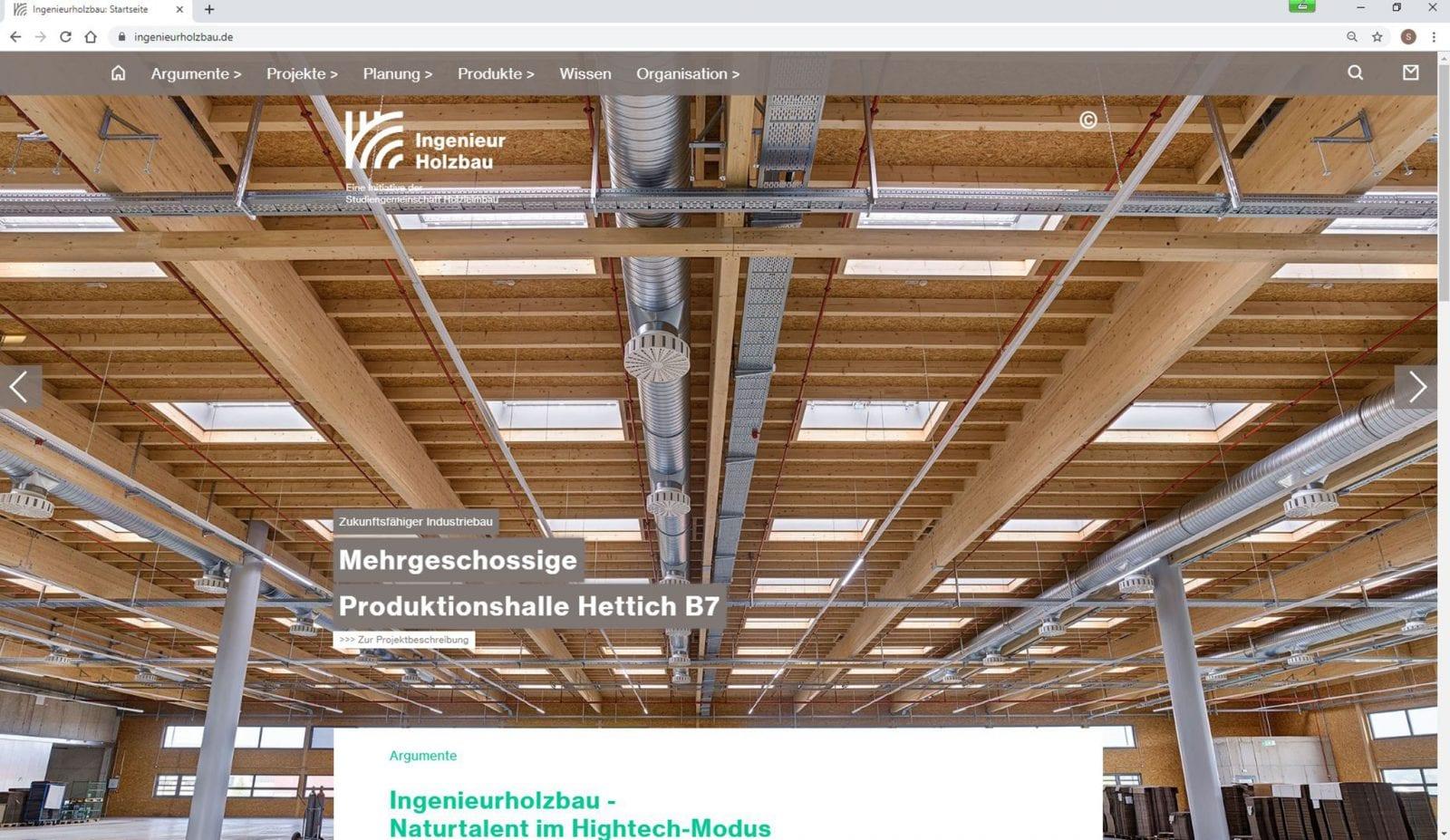 Screenshot: Industriebau Hettich auf ingenieurholzbau.de (Foto: Olaf Rohl / Banz + Riecks Architekten)