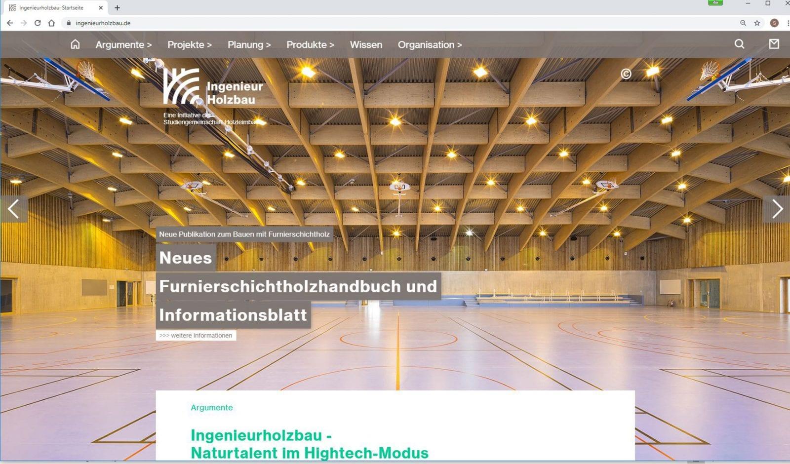 Screenshot: Sportanlage Clamart auf ingenieurholzbau.de (Foto: Metsä Wood / Sergio Grazia)