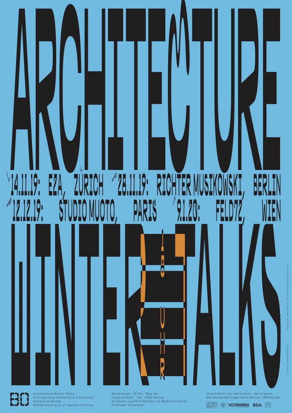 Architecture Winter Talks 2019/20: Vortragsreihe des Fachbereichs Architektur an der Bochum University of Applied Sciences (Grafik: Hochschule Bochum / FB Architektur)