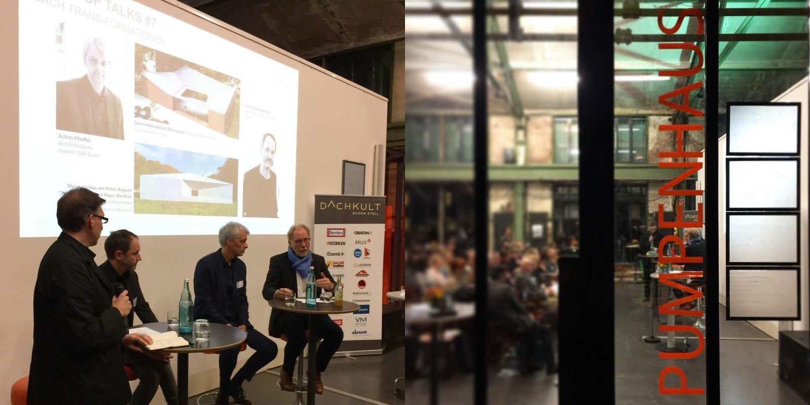 Diskussionsrunde mit Jan R. Krause (Moderation), den Architekten Prof. André Habermann und Achim Pfeiffer sowie Klaus H. Niemann (Dachkult) im Pumpenhaus der Jahrhunderthalle Bochum (Foto: Eric Sturm)