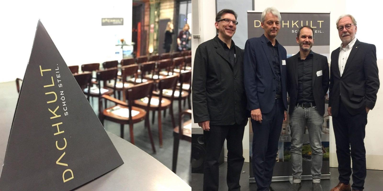 Gruppenbild der Dachkult-Rooftop Talks #7: Jan R. Krause (Moderation), Achim Pfeiffer (Architekturbüro Heinrich Böll), Prof. André Habermann (habermann.decker.architekten) und Klaus H. Niemann (Dachkult). Foto: Eric Sturm