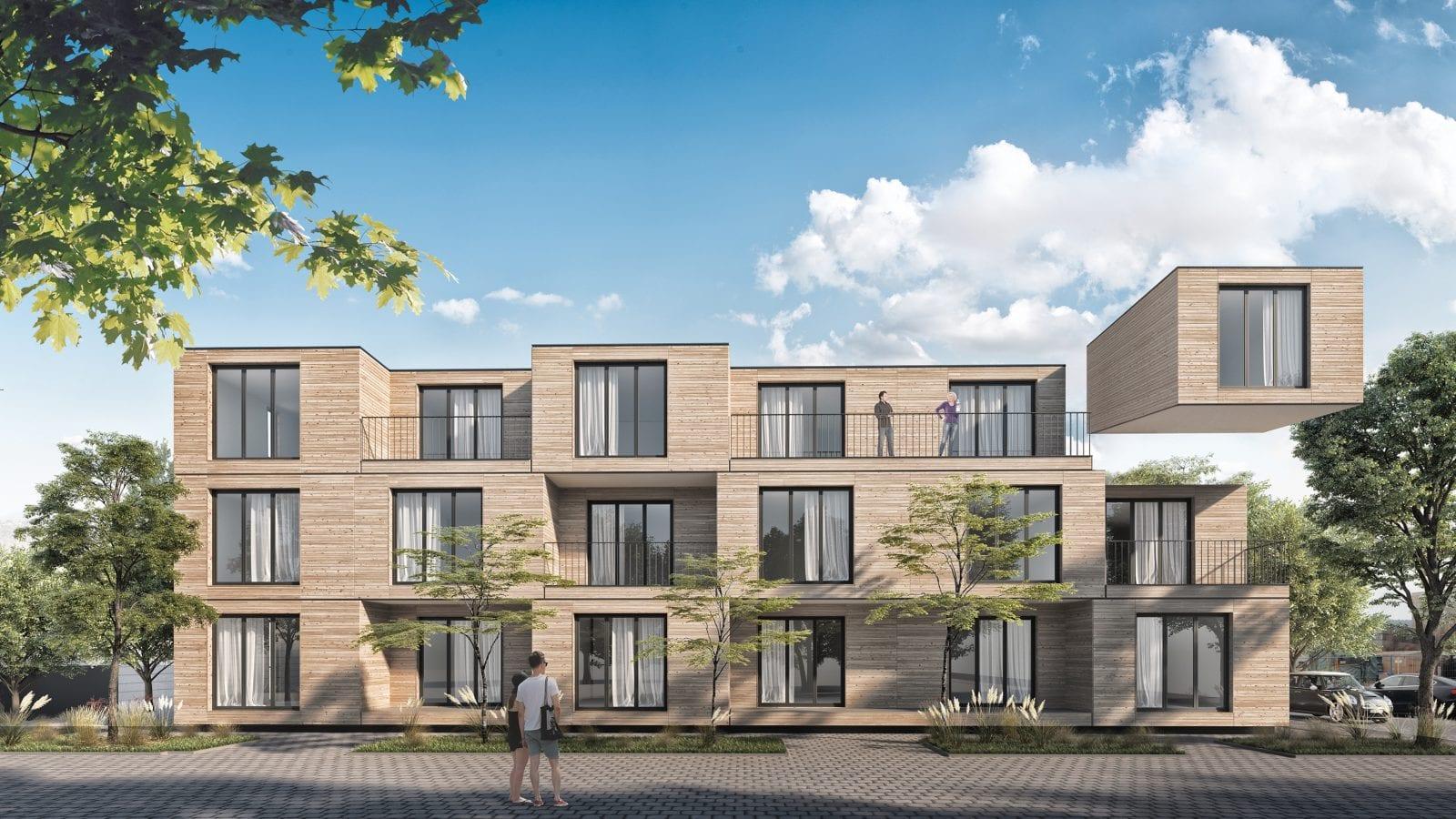 Bezahlbare Wohnungen in Modulbauweise: aktivhaus-Projekt für das Klinikum Esslingen (Visualisierung: aktivhaus)