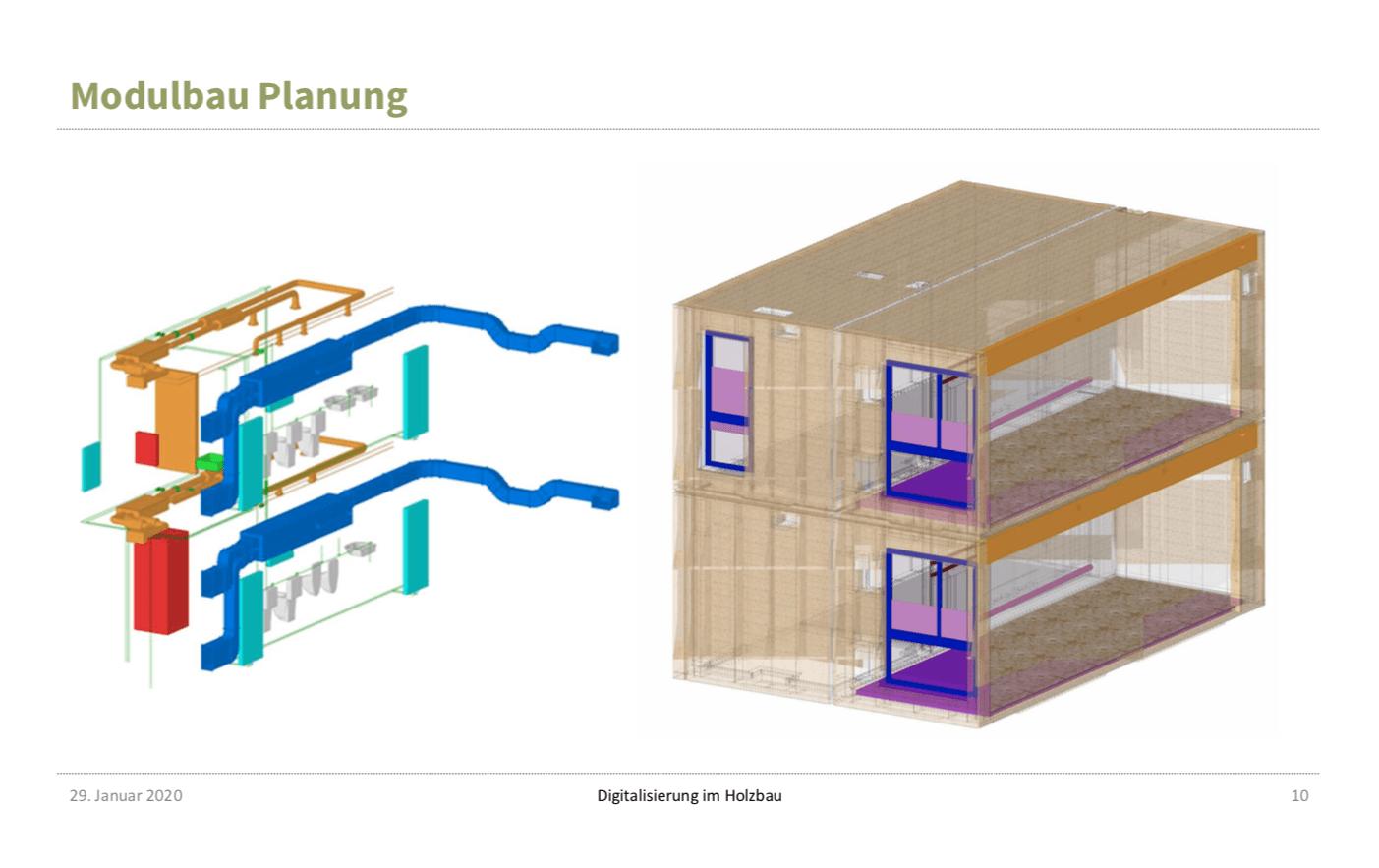 Modulbauplanung in 3D: Ansichten eines BIM-Modells aus dem Vortrag von Gerd Prause (Abbildung: Prause Holzbauplanung)