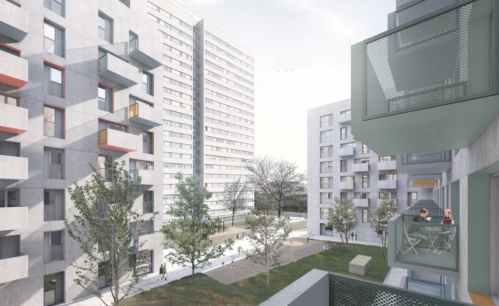 Wohnungsneubau von blauraum Architekten auf der Fischerinsel: Blick in den Innenhof (Bild: blauraum Architekten)