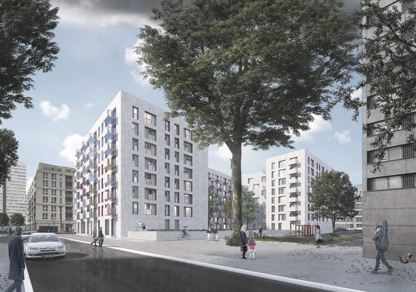 Wohnungsneubau von blauraum Architekten auf der Fischerinsel: Blick von Nordosten auf das Ensemble (Bild: blauraum Architekten)