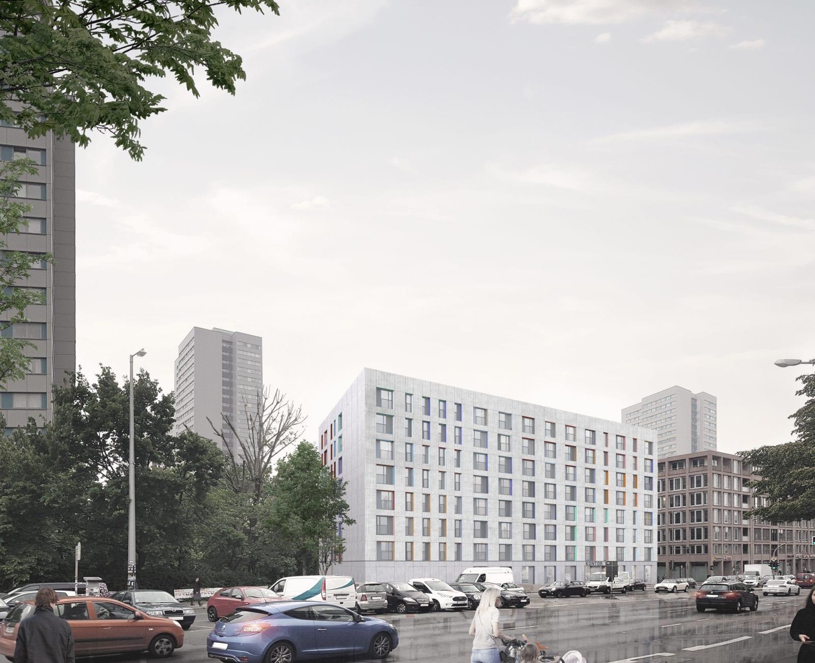 Wohnungsneubau von blauraum Architekten auf der Fischerinsel: Ansicht vom Mühlendamm (Bild: blauraum Architekten)