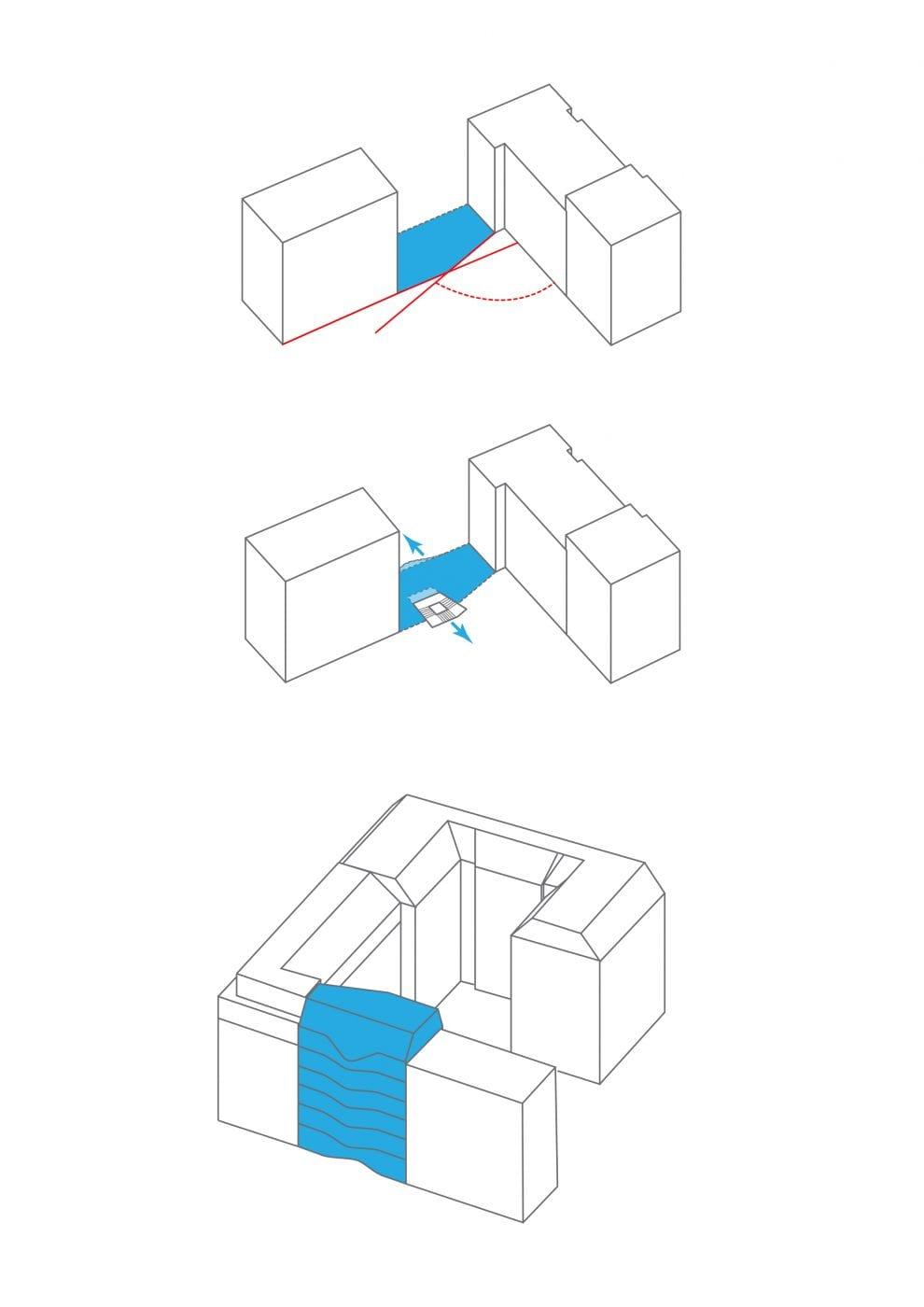 """""""Flächenmaximierung durch Kreativität: 20 Mietwohnungen auf 100 m² Grundfläche"""": Treppenkern und Aufzug wurden in den Hof hinein verschoben (Grafik: rundzwei Architekten)"""