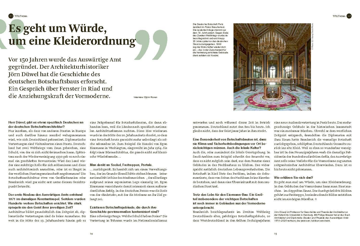 DOM magazine 01/2020, Seiten 14/15 (Bild: DOM publishers)