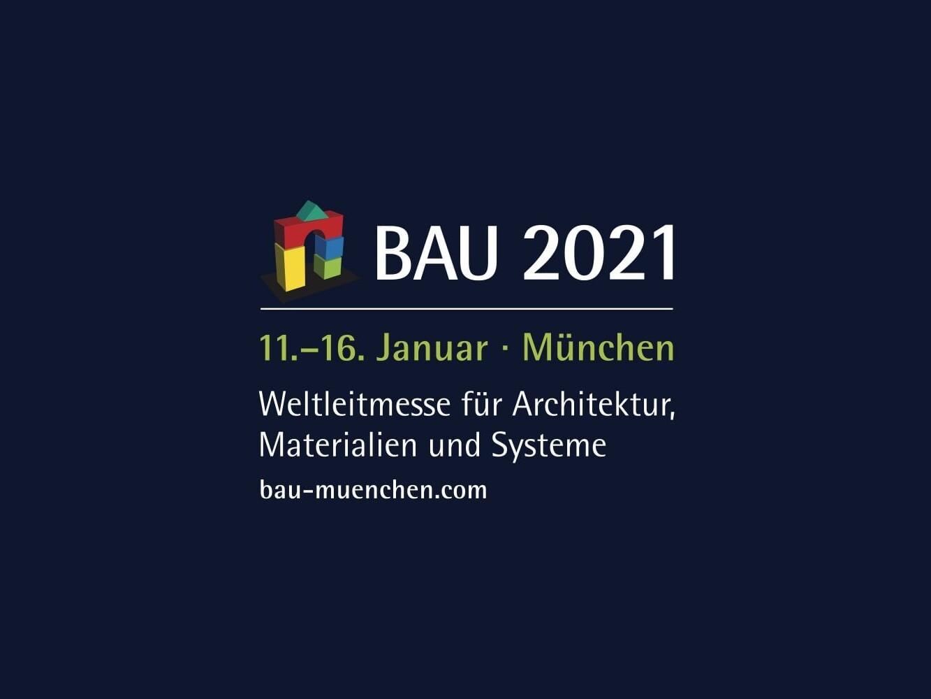 Logo und Schriftzug der BAU 2021 (Grafik: Messe München)