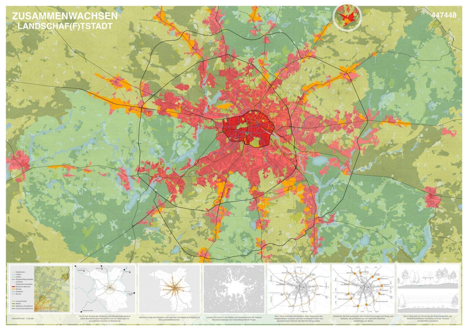 Berlin-Brandenburg 2070, Strategieplan 1:100.000 (Abbildung: Bernd Albers Architekten)