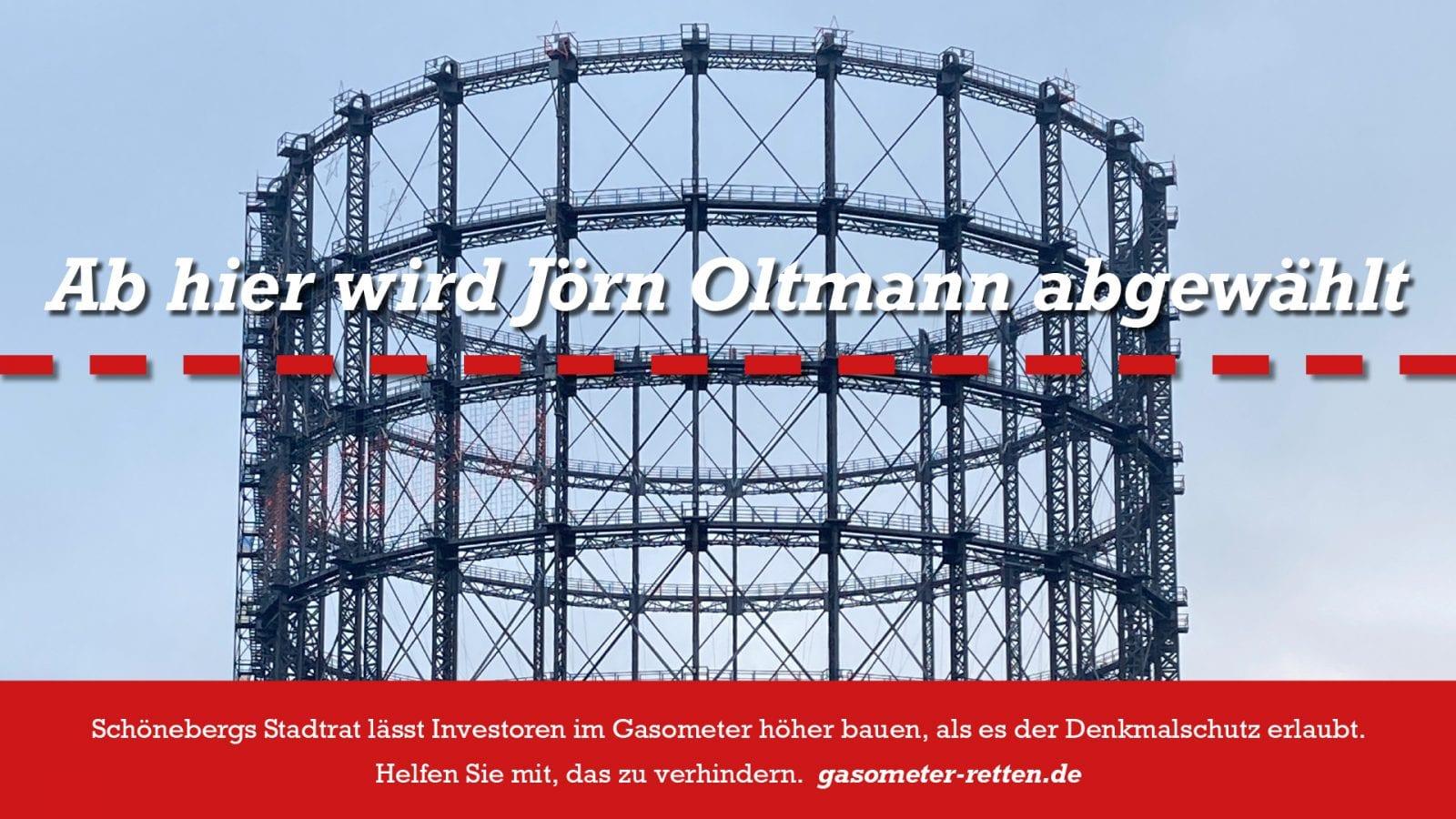 """""""Ab hier wird Jörn Oltmann abgewählt"""": Gasometer in Berlin-Schöneberg (Grafik: Thomas Winkler)"""